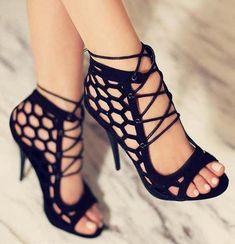 Black high heel sandals 2017