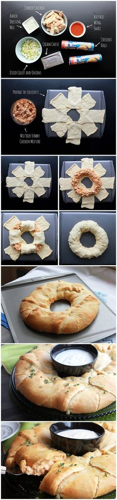 Buffalo chicken ring - Not on the healthy list but fun for a party