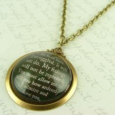 Pride and Prejudice - Jane Austen Literary Lovers Book Quote Glass Necklace