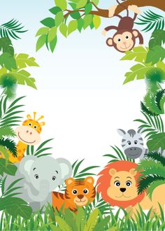 Shop Cute Jungle Safari Baby Shower Invitations created by invitationstop. Safari Party, Festa Safari Baby, Safari Thema, Safari Theme Birthday, Animal Birthday, Jungle Theme Parties, Deco Jungle, Jungle Safari, Safari Invitations