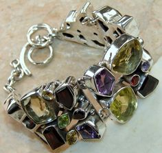 Mixed Faceted Stones bracelet designed and created by Sizzling Silver. Please visit  www.sizzlingsilver.com. Product code: BR-7732