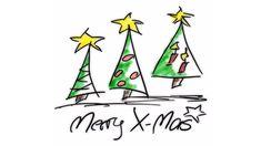 Merry XMas / Frohe Weihnachten /  Grüße/ Video zum Weiterschicken/ Weihnachtsbäume gezeichnet