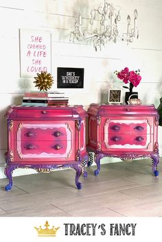 These whimsical pink princess nightstands created by Tracey's Fancy with her signature stripes, checks and color blending for a fun furniture makeover. Whimsical Painted Furniture, Pink Furniture, Chalk Paint Furniture, Cool Furniture, Furniture Ideas, Furniture Design, Pink Nightstands, Diy Nightstand, Bedroom Dressers