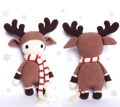 Häkelanleitung: kleines, süßes Rentier mit Schal, perfekt als Weihnachtsdekoration. / diy crochet instruction: cute little reindeer with scarf, perfect christmas decoration by RoKiKi via daWanda.com