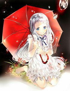 Image Danime Avec Ano Hi Mita Hana No Namae Wo Bokutachi Wa Mada Shiranai Pictures Honma Meiko Hinahino Long Hair Single Tall Blush Blue Eyes Smile