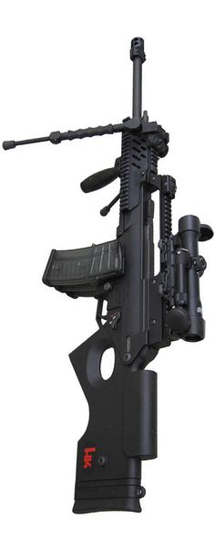 HK SL8-4. Canadian version has a wide magwell to except G36 high-cap mags. Sadly, in the US, we have to modify our SL8-1 and SL8-6 by milling out the mag slot in the upper, use a G36 magwell and also buy a G36 bolt head.