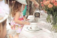 Paper plate hats craft, tea bag search party game, serve tea in a silver coffee pot