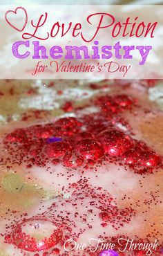 Grab a few ingredients from the kitchen and whip up some love chemistry with your kids for Valentine's Day this year! Love Potion Chemistry activity that is half science, half art and totally fun! {One Time Through} #Valentinesday