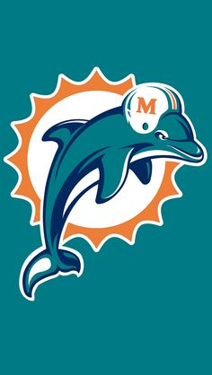 miami dolphins logo wallpaper  Miami Dolphins Primary Logo (1997) - Aqua and navy dolphin leaping ...