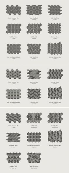 Dwell Patterns - Heath Ceramics - Little Diamond, tile patterns and layout Kitchen Floor Tile Patterns, Kitchen Tiles, Kitchen Flooring, Room Tiles, Kitchen Wood, Kitchen Design, Ceramic Flooring, Tile Wood, Floor Design