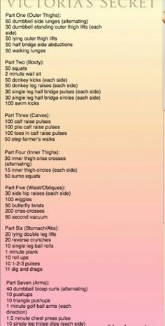 Victoria's secret workout.