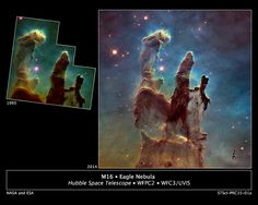 Astronomers using NASA's Hubble Space Telescope have assembled a bigger and sharper photograph of the iconic Eagle Nebula's 'Pillars of Creation' (right)