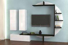 Ensemble meuble TV blanc laqué et effet béton ciré design BARI