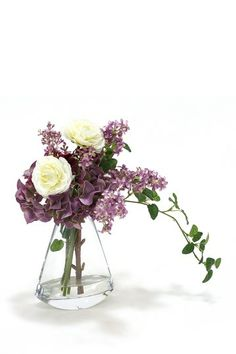 Lavender Lilacs and Hydrangeas with Cream White Ranunculus in Glass Rocker Vase by Distinctive Designs on @HauteLook