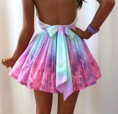 Multicolor Flowers Bow Mid-rise Skirt   - Apparel