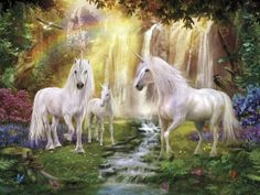 Waterfall Glade Unicorns - Tavlor på canvas - Photowall