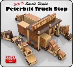 Set 3 - Small World Peterbilt Truck Stop Wood Toy Plan Set