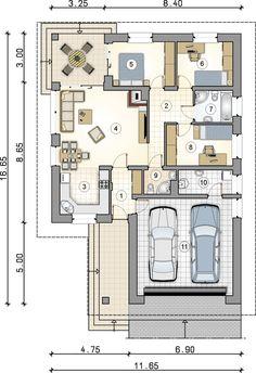 A ház 1 méterrel megtoldva (szobák 50-50 cm-rel + 11 nm) Dream House Plans, Modern House Plans, My Dream Home, My Home Design, Plan Design, House Design, Architecture Graphics, Modern Architecture, Atrium