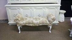 Boudoir Bench freshly reupholstered in Victorian rose medallion fabric.