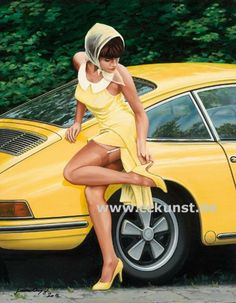 Motor Racing Art - never thought yellow would suit the Porsche 911.