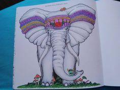 Elephant from Animorphia coloring book by Kerby Rosanes / Slon z antistresových omalovánek Proměny zvířat