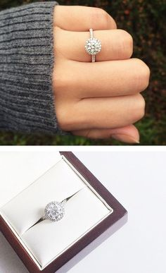 THIS. This is the EXACT ring I want. 14k white gold pave halo and shank diamond engagement ring: