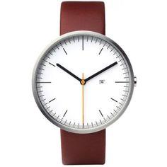 Uniform Wares 202 Series Calendar Wristwatch (Brushed Steel & Cherry Red)