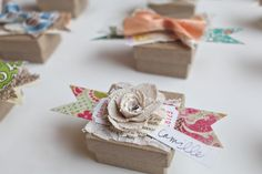burlap blossoms - favor boxes or place setting Envelopes, Favor Boxes, Gift Boxes, Fabric Flowers, Burlap Flowers, Burlap Lace, Hessian, Paper Flowers, Paper Crafts