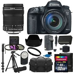 Canon EOS 7D Mark II Digital SLR Camera Full HD 1080p/60 Video with 18-135mm IS STM Lens Lens Kit UV Filter Kit With Extra Battery