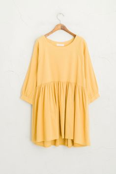 Linen Baby Doll Dress, Mustard, 70% Cotton, 30% Linen