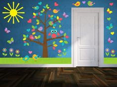 Tree Wall Decal - Owl Wall Decal - Flower Wall Decal