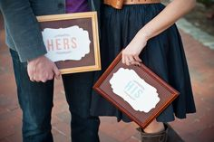 """HIS"" AND ""HERS"" signs from and engagement shoot... Photography by craig-photography.com, Styling & Design by shaylahawkinsevents.com"