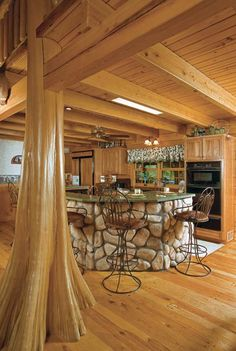 Tree in Cabin Kitchen | Suwannee River Log Homes