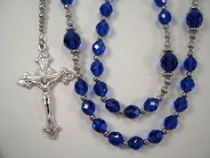 Men's Rosary Father's Day Catholic Necklace 25 inch Czech Capri Blue Glass Beads Padre Católica Masculino Collar Rosario Free shipping USA by TheGemBeadLink on Etsy