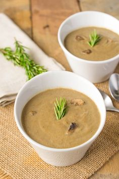 Vegan Mushroom Soup ~ A healthy and flavorful soup ... minus the cream! Fresh mushrooms, leeks, garlic and rosemary cooked in mushroom broth and blended with cashews.