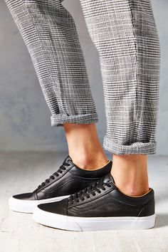 Vans Premium Leather Old Skool Womens Low-Top Sneaker - Urban Outfitters Leather Vans, Black Leather Sneakers, Old Skool Black, Vans Old Skool, Low Top Vans, Vans Outfit, Vans Shop, Sneaker Brands, Urban Outfitters