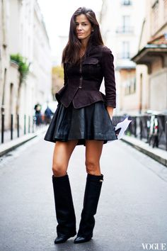 "Long Skirts and Boots | ... attire? Givenchy ""it"" boots, leather mini skirt and a peplum top"