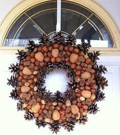 nut and pinecone wreath