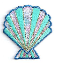 Seashell - Beach - Tropical - Shimmering Embroidered Iron On Applique Patch