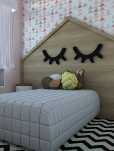 Quarto de menina jovem pequeno. Ideia de decoração infantil e criativa. Quarto de menina planejado. Projeto Em Canto Meu. Descubra seu estilo em nosso site!