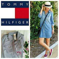 Listing Striped chambray shirt dress So chic! Striped with button closure in the front and back for more flattering fit at the waist. Never worn, because it's too big for my petite size. NWT Tommy Hilfiger Dresses