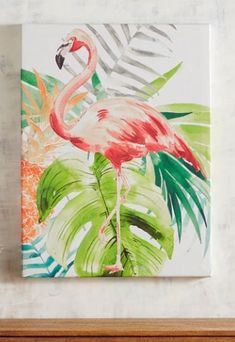 What's the best way to add a splash of Caribbean-inspired style to your decor? Our Tropical Flamingo Art, of course! Bright and colorful, it features your favorite feathered friend and lush foliage, adding a unique, playful accent to any space. Flamingo Painting, Flamingo Art, Flamingo Drawings, Pink Flamingos, Unique Art Projects, Art Watercolor, Arte Sketchbook, Art Inspiration Drawing, Tropical Art