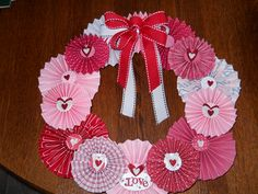 Valentines Rosette Wreath using Stampin' Up products. ($25.00 each)