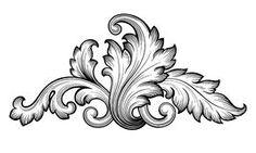 Vetor floral barroco do ornamento do rolo do vintage Fotos de Stock