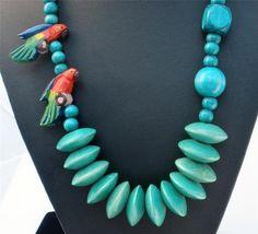 Vintage Parrot Figural Wood Necklace Carved Enamel Bird Bead Hand Painted | eBay