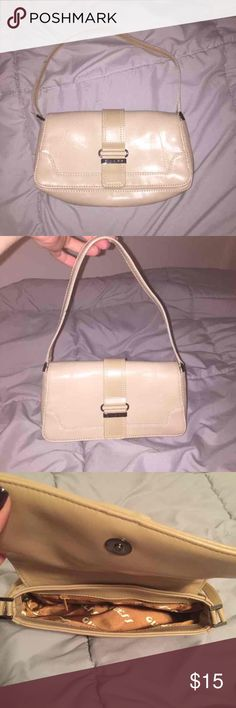 Guess tan/beige small handbag Used once.  Small classy bag in tan / beige color. Guess Bags Mini Bags