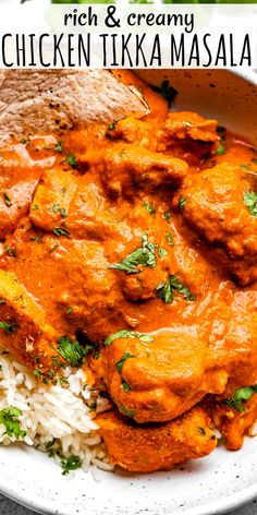 This simple stove top Chicken Tikka Masala recipe is rich and creamy with huge flavor. Serve it over a heaping scoop of white rice for a quick dinner idea! #chickenrecipes #easydinner #tikkamasala Chicken Tikka Marsala Recipe, Best Chicken Tikka Masala Recipe, Chicken Masala, Indian Food Recipes, Asian Recipes, Healthy Recipes, Rice Recipes, Easy Recipes, Tika Massala