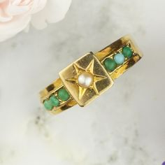Victorian Pearl and Turquoise Star Ring in 15k Yellow Gold