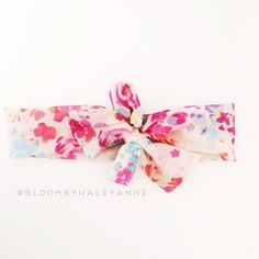 Watercolor floral head wrap creams and pinks by Bloombyhaleyanne