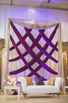 Royal Purple and Gold Indian Wedding & Washington, DC & Purple and gold wedding reception stage by tracey The post Royal Purple and Gold Indian Wedding Desi Wedding Decor, Indian Wedding Receptions, Wedding Reception Backdrop, Wedding Stage Decorations, Wedding Mandap, Backdrop Decorations, Wedding Colors, Backdrops, Wedding Lounge